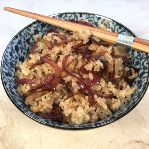 Vegan Onion & Mushroom Rice by The Allergy Chef