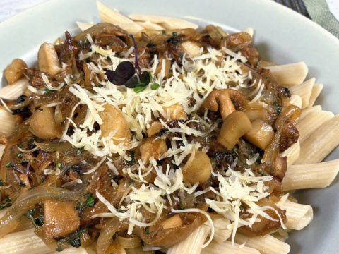 Vegan Onion & Mushroom Parmesan by The Allergy Chef