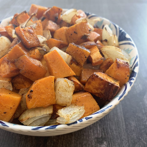 Maple & Onion Sweet Potatoes by The Allergy Chef