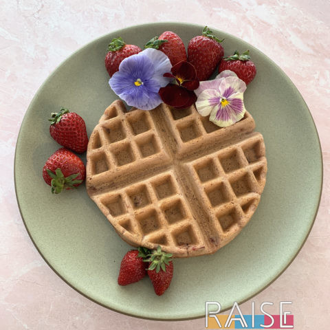 Gluten Free Vegan Strawberry Rose Waffles by The Allergy Chef