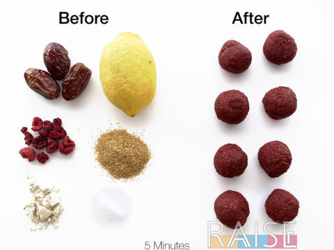 Nutrient Dense Lemon Raspberry Power Balls by The Allergy Chef