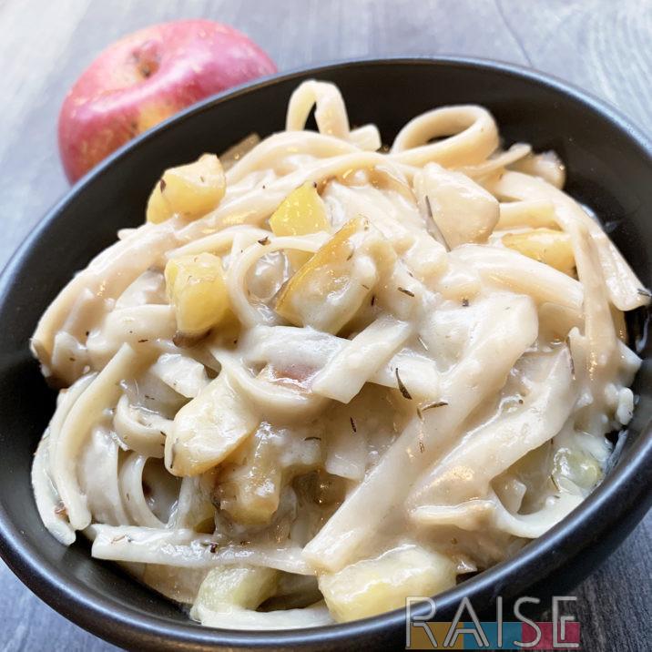 Gluten Free, Vegan, Apple Parmesan Pasta by The Allergy Chef