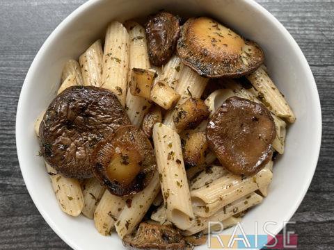 Gluten Free, Vegan Mushroom & Garlic Pasta by The Allergy Chef