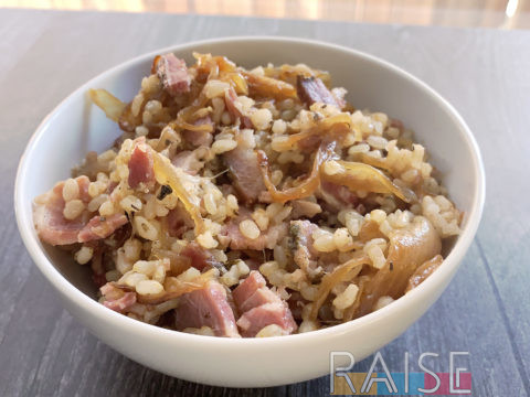 Boiled Bacon with Caramelized Onions and Rice by The Allergy Chef